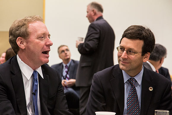 Brad Smith, Executive Vice President and General Counsel at Microsoft; and Bob Ferguson, Attorney General for the State of Washington, share a conversation at a special signing ceremony where Microsoft entered into agreements with international law enforcement and the private sector to help build a safer Internet.