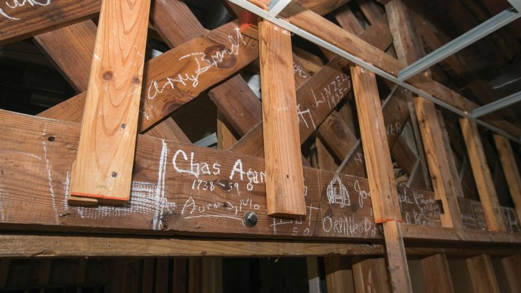 Signatures on Greenwood architectural beams