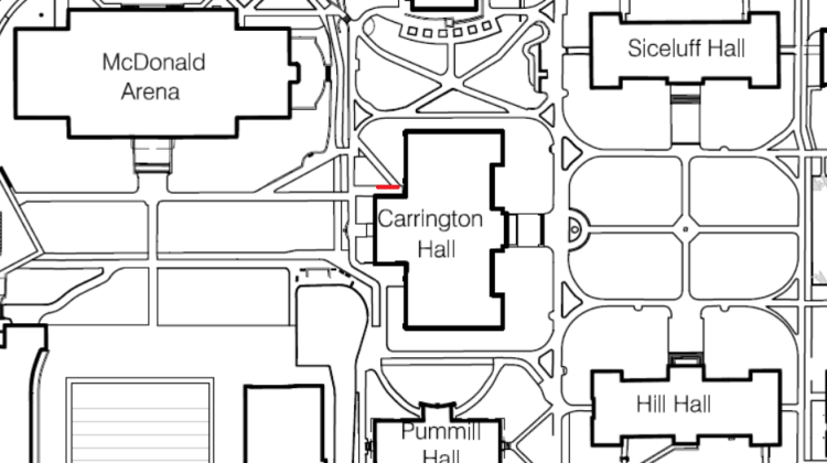 Sidewalk Repairs – Carrington Hall NW Entrance – Aug 1-3, 2016