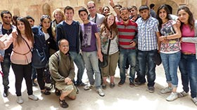 Students on a trip with Dr. Romano