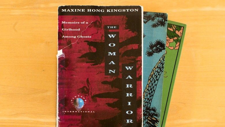 The Woman Warrior and other books fanned out on a table