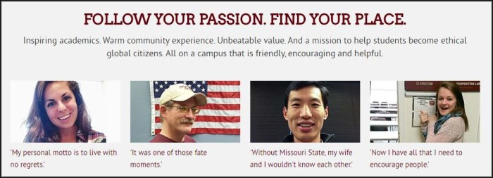 Four stories created by Missouri State students, as seen on the University homepage