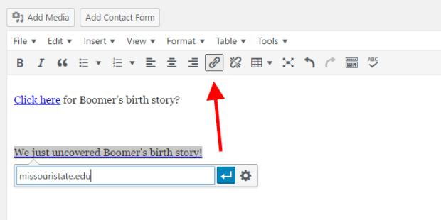 Screenshot of example of descriptive links