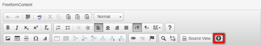 text editor toolbar with highlighted accessibility checker icon