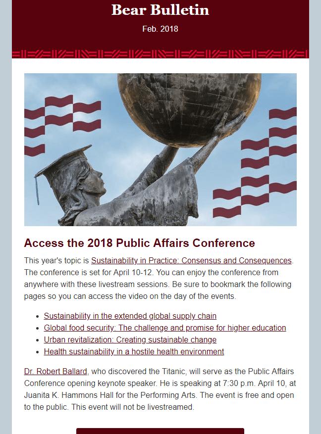 New desktop version of the Bear Bulletin e-news letter.