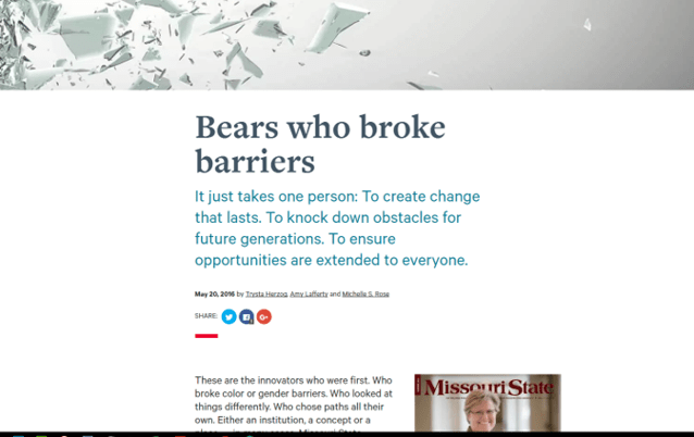 New blog format for featured magazine stories on desktop.