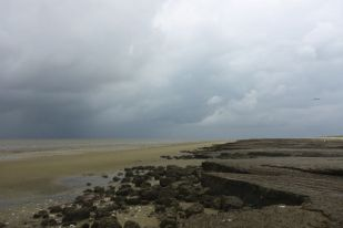 Regenwolke an Kleikante (Foto: Tore J. Mayland-Quellhorst).