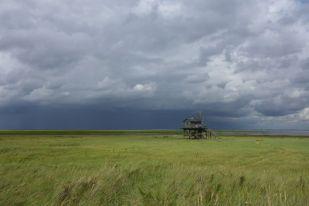 Ein Regenschauer zieht über die Insel (Foto: Tore J. Mayland-Quellhorst).