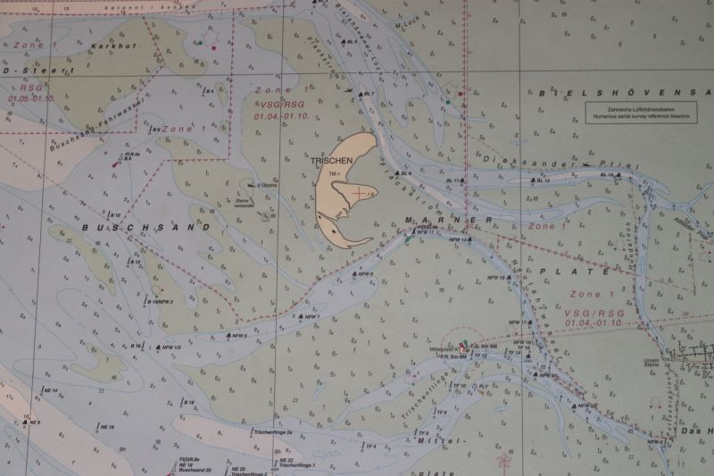 Trischen im Wattenmeer (Seekarte des BSH)