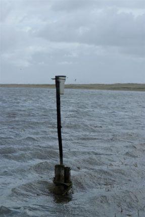 verloren wirkender Regenmesser, der jetzt mal von unten und nicht von oben Wasser abbekommt (Foto: A. de Walmont)
