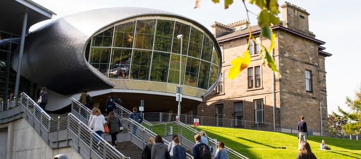 Craiglockhart campus exteriors in autumn sunshine.