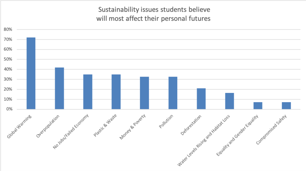 Graph detailing the sustainabilty issue School of Computing students felt were the greatest concern