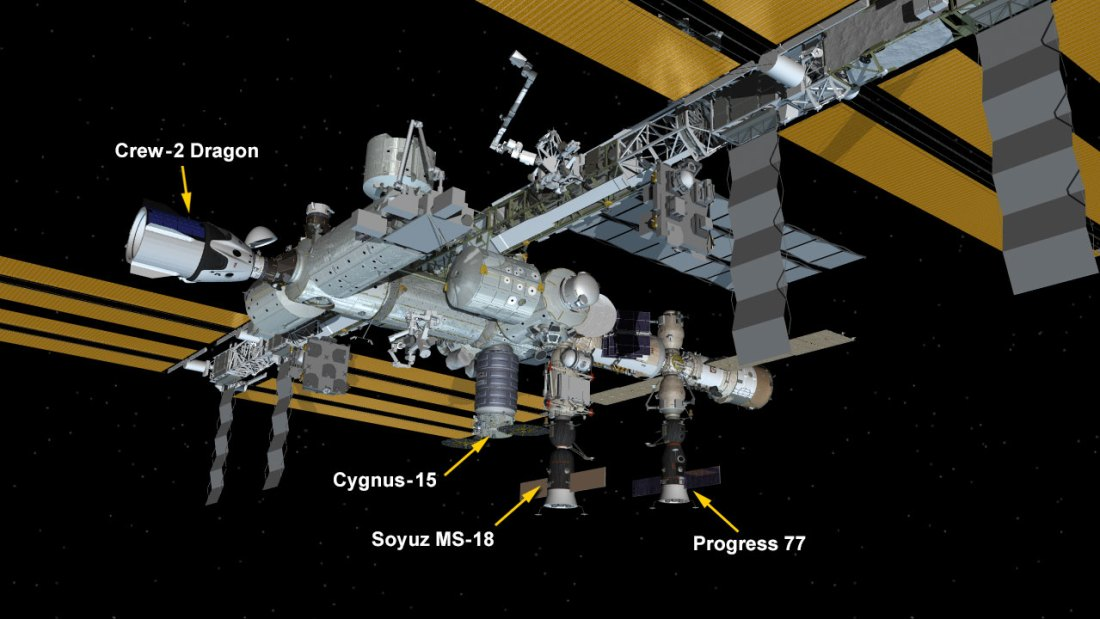 May 1, 2021: International Space Station Configuration. Four spaceships are attached to the space station including the SpaceX Crew Dragon Endeavour, the Northrop Grumman Cygnus cargo craft, and Russia's Soyuz MS-18 crew ship and ISS Progress 77 resupply ship.