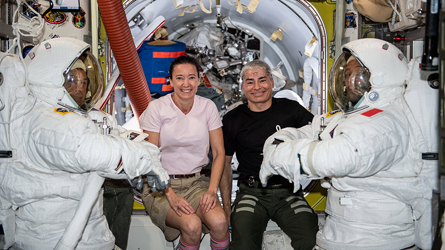 At center, astronauts Megan McArthur and Mark Vande Hei will assist spacewalkers Shane Kimbrough (far left) and Thomas Pesquet (far right) during two spacewalks set for June 16 and 20.