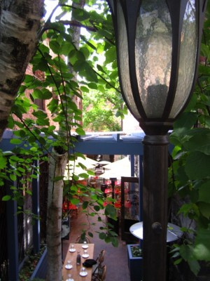 Diagon Alley? No, just the outdoor patio at Asheville's local French restaurant, Bouchon.