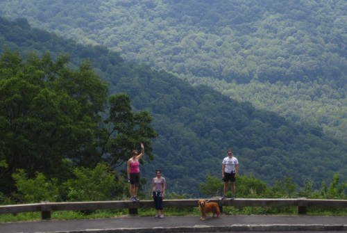 Maura, Chongyang, Roscoe, and Liz enjoying the view at a scenic overlook off the Blue Ridge Parkway.