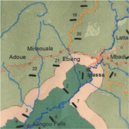 "The map in question…Note the placement of ""Ebieng"" in relation to ""21""."