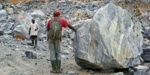 Walking through a gravel mine less than 1km from a village