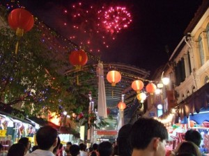 Fireworks in Chinatown celebrating the start of the new year