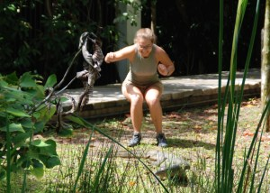 Madison gets excited (and a little too close) about a monitor lizard, watch that that tail!