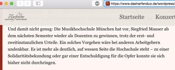 """Das Harfenduo: """"Musikhochschule München will Mauser wieder als Dozenten gewinnen"""""""