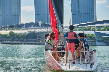 A hands-on session on how to operate a sail boat.