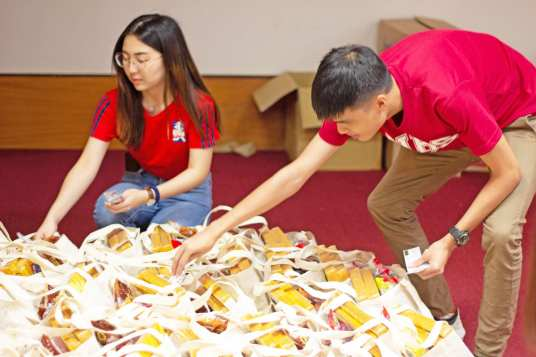 Volunteers packing the goodie bags.