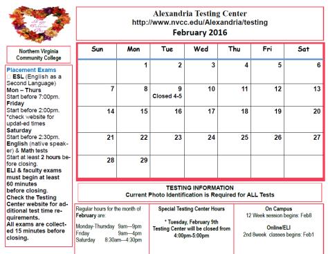 Testing Center Calendar