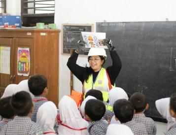 Bunga gives a safety presentation