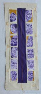 "13. Caras Moradas en Oro, Acrylic on Unstretched Canvas, Cloth, Thread, Needle, 37"" x 13.5"", 2019, $1,200"