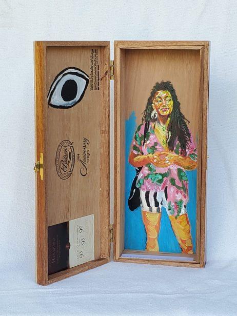 """3. May, Acrylic on Cedar Cigar Box, 12"""" x 9"""", 2020, $420"""