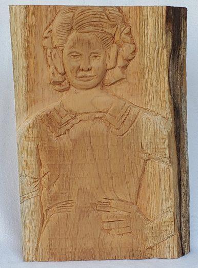 """6. Niña con Mano en la Cintura, Carved Spanish Cedar, 12.5"""" x 8.5"""", 2020, $900"""