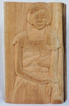"7. Olga, Carved Spanish Cedar, 14"" x 9"" 2020, $900"