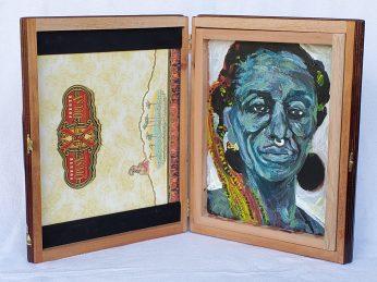 4. Woman with Braid and Earrings, Acrylic on cedar cigar box, 2020, $420