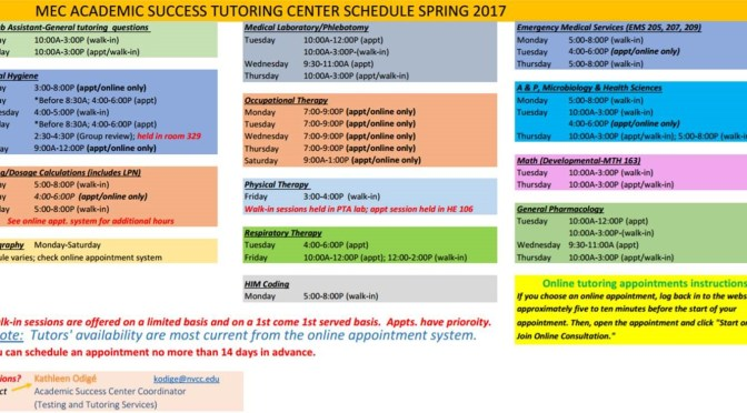 Spring 2017 MEC Tutoring Center Schedule