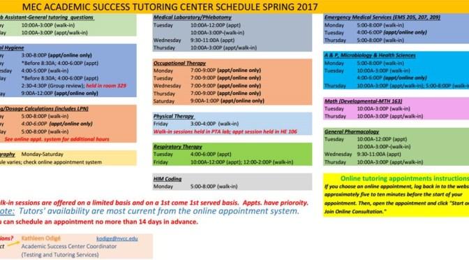 Spring 2017 MEC Tutoring Center Schedule
