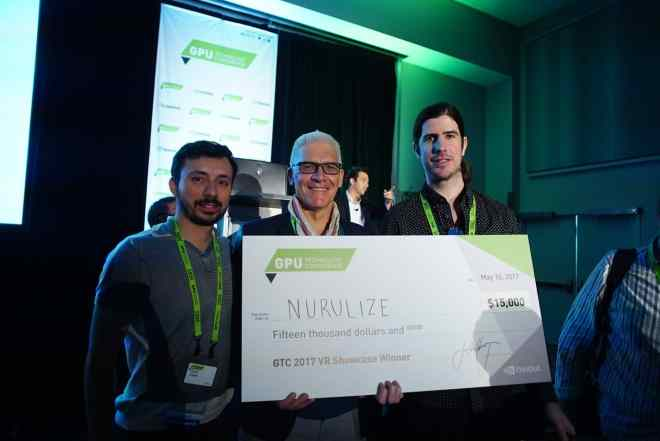 Nurulize founders accept their VR Content Showcase award.
