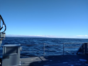 """All is calm (NOT), all is bright. This photo does not do justice to the """"washing-machine"""" of seas."""