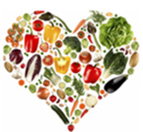 Heart illlustration filled with vegetabls, logo of DOH Conference.