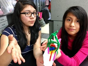 Girls show their engineering design