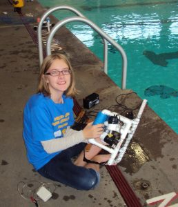 8th grader from North Bend Middle School Science Club competes with her SeaPerch ROV