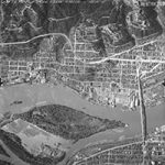 aerial of willamette river and ross island 1950
