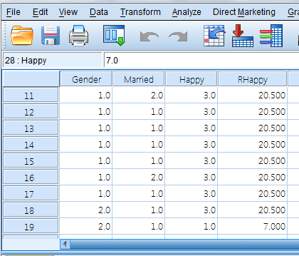 Data View SPSS