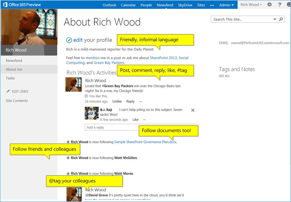 SharePoint 2013 Social Screenshot