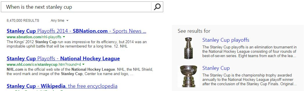 Cortana When is the Next Stanley Cup
