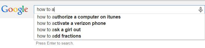 Example of Google Autocomplete