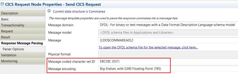 CICS Request Node - Response Message