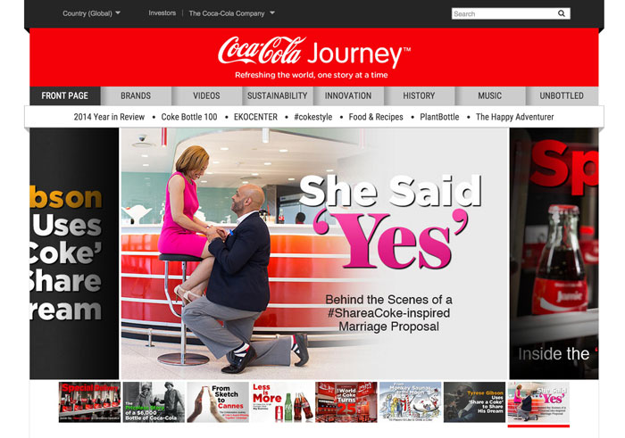 Coca Cola Journey Home Page
