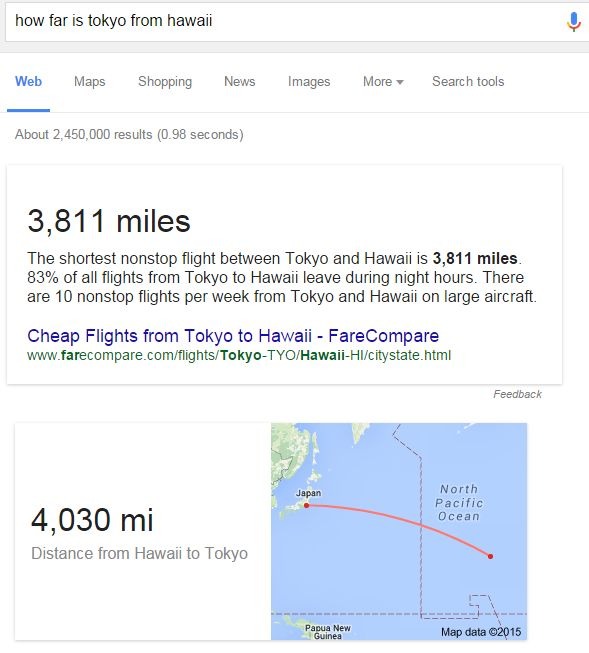Example Map Showing Distance From Tokyo to Hawaii