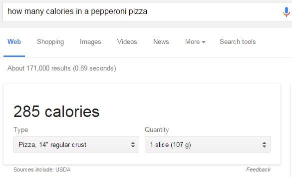 Google search rich answer calorie calculator